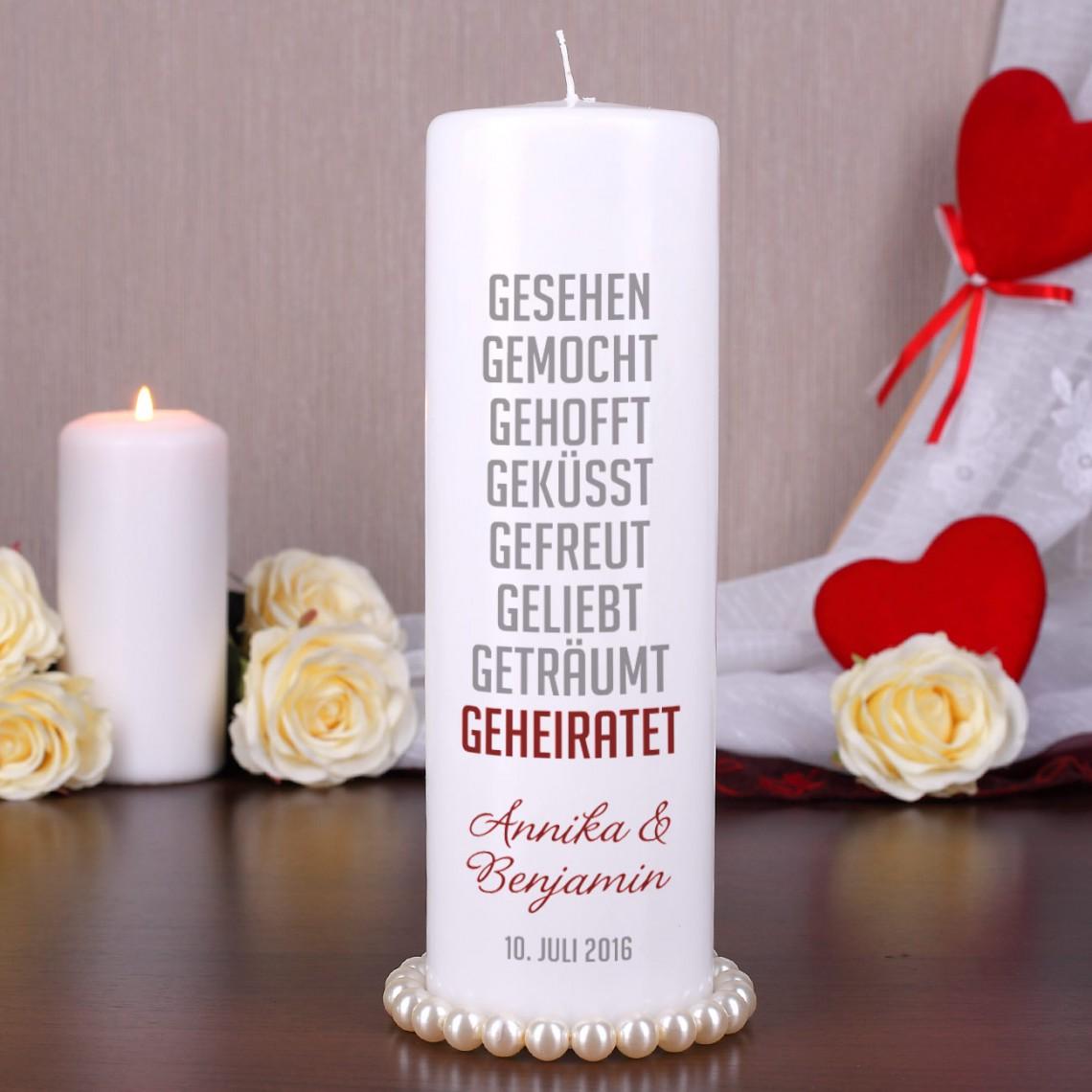 Hochzeitskerze mit Lovestory